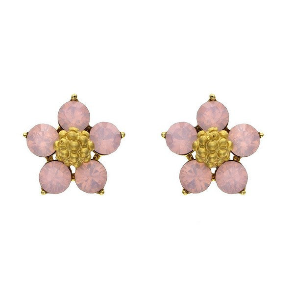 Crystal Colors Gold Plated Five Pedal Flower Earring with Pink Opal Swarovski Stones