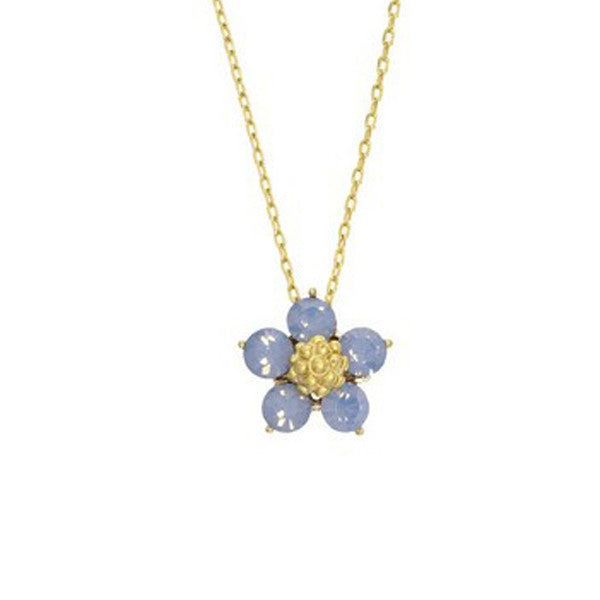 Crystal Colors Gold Plated Five Pedal Flower Necklace with Blue Opal Swarovski Stones