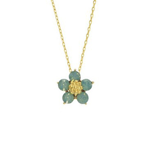 Crystal Colors Gold Plated Five Pedal Flower Necklace with Pacific Opal Swarovski Stones
