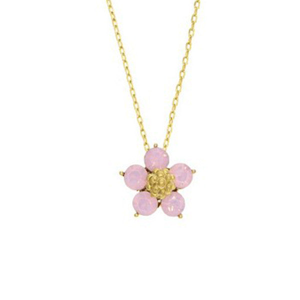 Crystal Colors Gold Plated Five Pedal Flower Necklace with Pink Opal Swarovski Stones