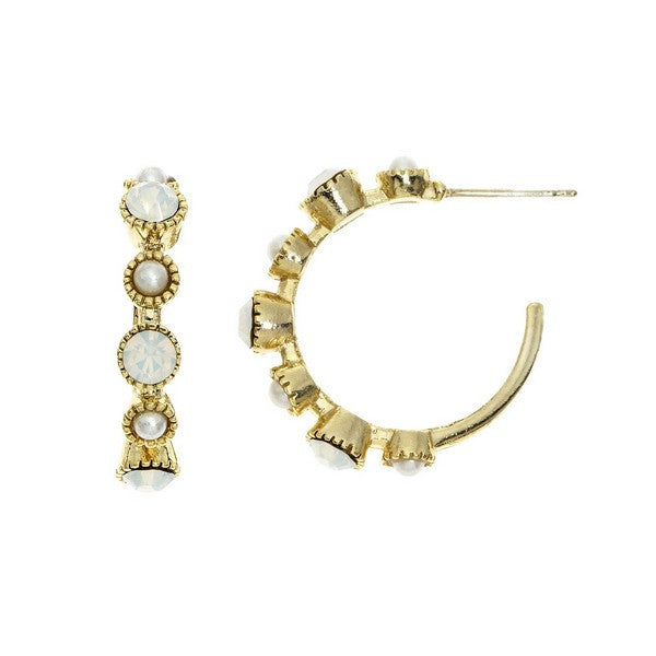 Crystal Colors Gold Plated J-Hoop Earring with White Opal Swarovski Stones