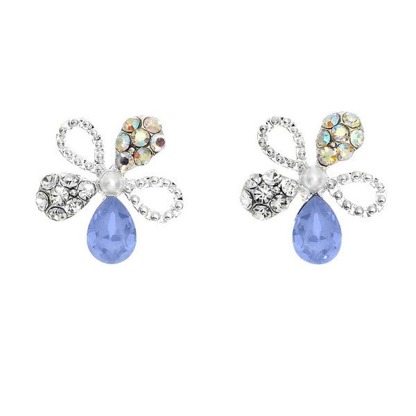 Crystal Colors Rhodium Plated Flower Earring with Blue Opal Swarovski Stones