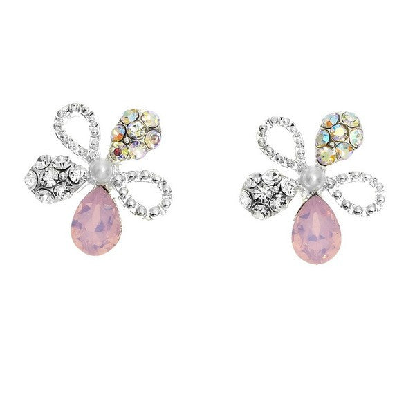 Crystal Colors Rhodium Plated Flower Earring with Pink Opal Swarovski Stones