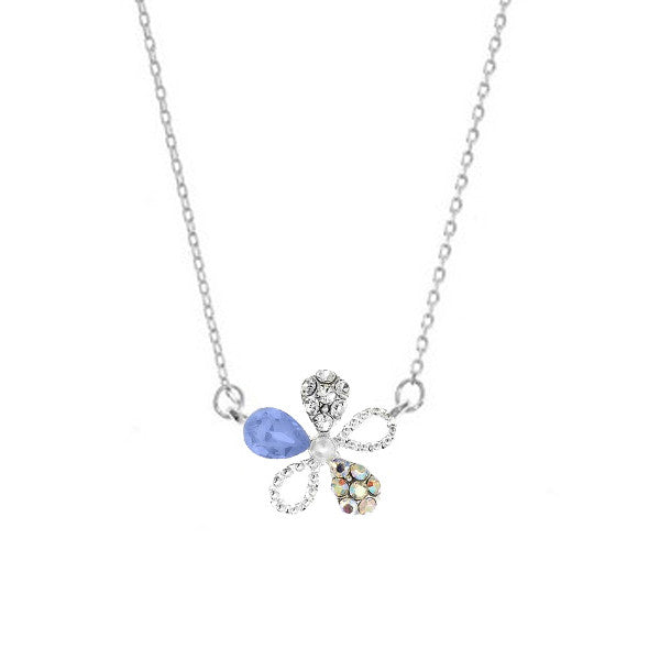 Crystal Colors Rhodium Plated Flower Necklace with Blue Opal Swarovski Stones