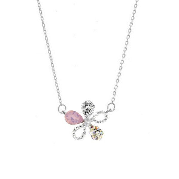 Crystal Colors Rhodium Plated Flower Necklace with Pink Opal Swarovski Stones