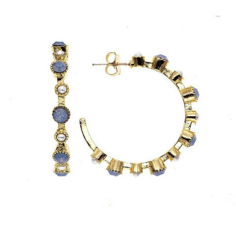 Crystal Colors 14KT GEP Large Station Earring with Swarovski Blue Opal