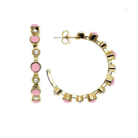 Crystal Colors 14KT GEP Large Station Earring with Swarovski Pink Opal
