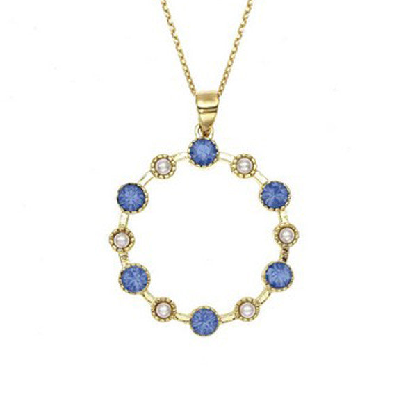 Crystal Colors 14KT GEP Large Station Pendant Necklace with Swarovski Blue Opal