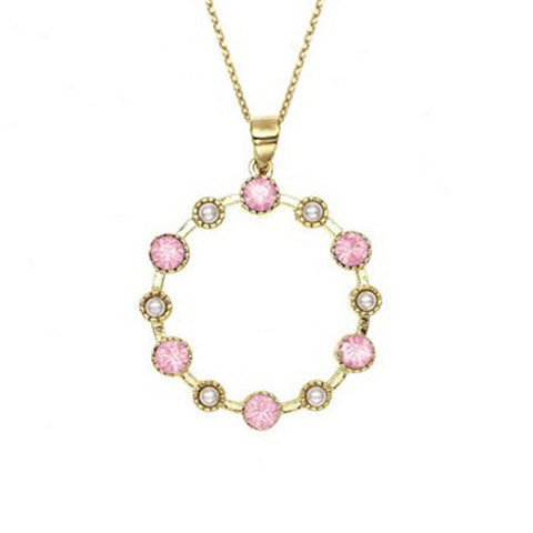 Crystal Colors 14KT GEP Large Station Pendant Necklace with Swarovski Pink Opal