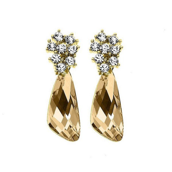 Crystal Colors 14KT GEP Comet Earring with Golden Shadow Swarovski Stones