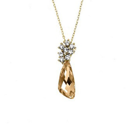 Crystal Colors 14KT GEP Comet Necklace with Golden Shadow Swarovski Stones