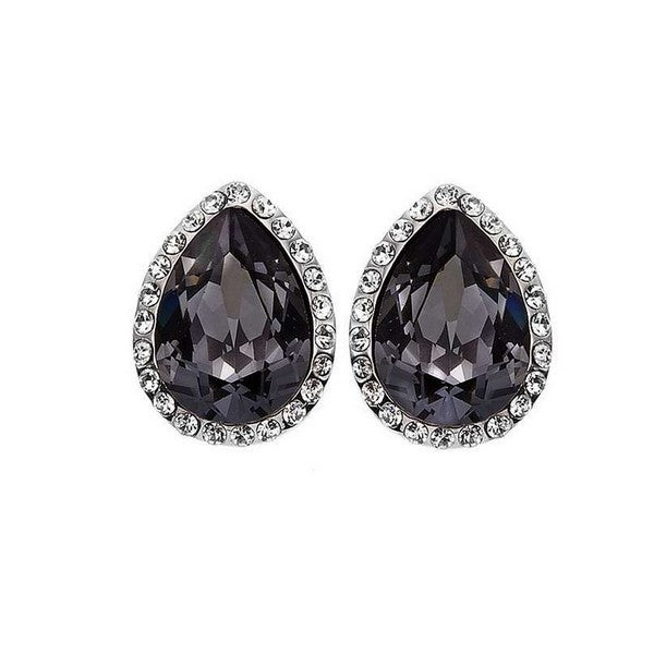 Crystal Colors Rhodium Plated Tear Drop Earring with Silver Night Swarovski Stones