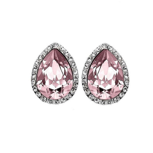 Crystal Colors Rhodium Plated Tear Drop Earring with Vintage Rose Swarovski Stones