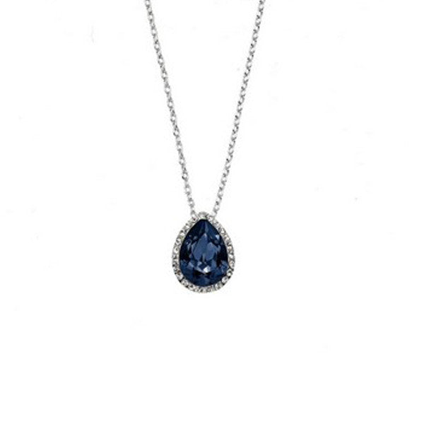 Crystal Colors Rhodium Plated Tear Drop Pendant with Denim Blue Swarovski Stones