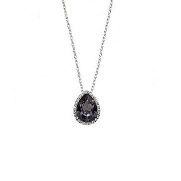 Crystal Colors Rhodium Plated Tear Drop Pendant with Silver Night Swarovski Stones