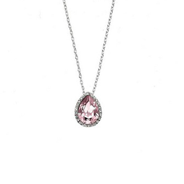 Crystal Colors Rhodium Plated Tear Drop Pendant with Vintage Rose Swarovski Stones