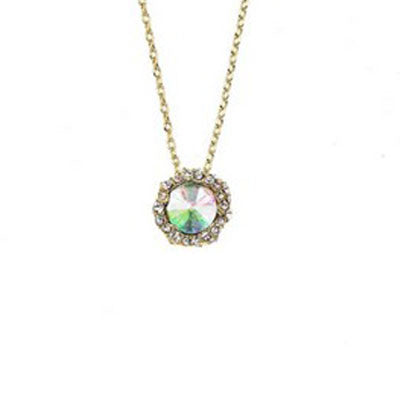 Crystal Colors 14KT Gold Plated Shell Pendant with AB Swarovski Stone