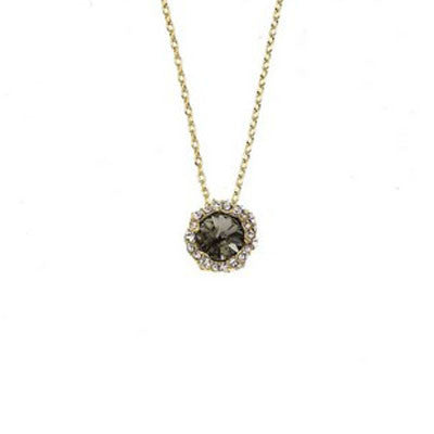Crystal Colors 14KT Gold Plated Shell Pendant with Black Diamond Swarovski Stone