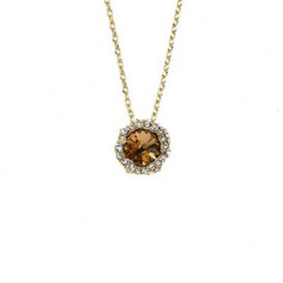 Crystal Colors 14KT Gold Plated Shell Pendant with Light Colorado Topaz Swarovski Stone