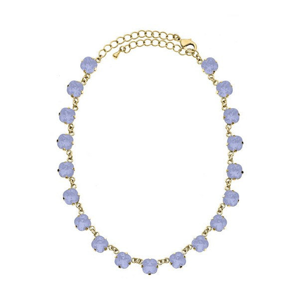 Crystal Colors Crystal Luxe Emerald Cut Swarovski Air Blue Opal Crystal Necklace