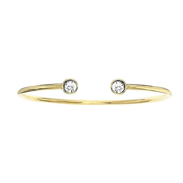 Crystal Colors 14KT Gold Plated Bangle with Clear Swarovski Crystal (April)