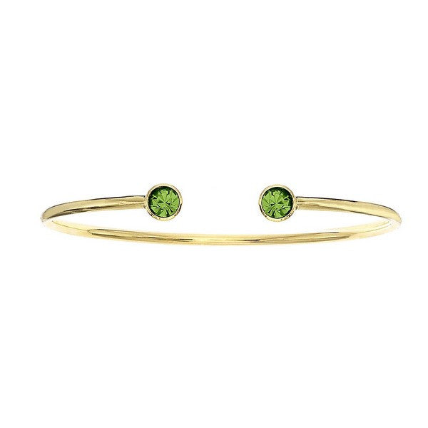 Crystal Colors 14KT Gold Plated Bangle with Peridot Swarovski Crystal (August)