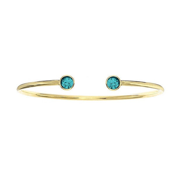 Crystal Colors 14KT Gold Plated Bangle with Blue Zircon Swarovski Crystal (December)