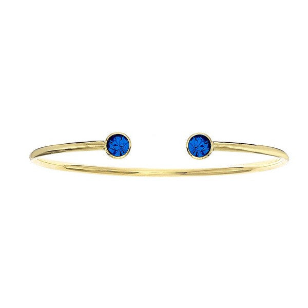 Crystal Colors 14KT Gold Plated Bangle with Sapphire Swarovski Crystal (September)