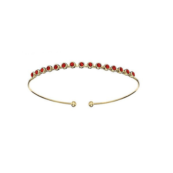Crystal Colors 14KT Gold Plated Bangle with Light Siam Swarovski Crystal (July)