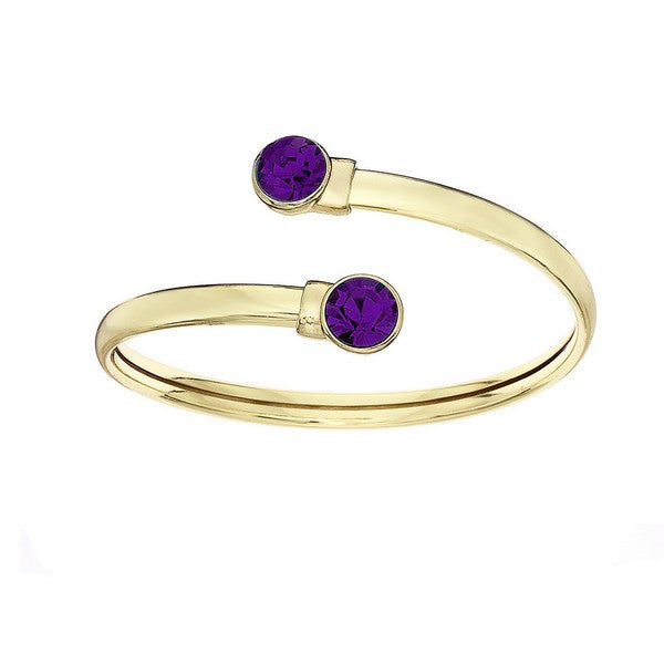 Crystal Colors 14KT Gold Plated Flex Bangle with 8mm Dark Amethyst Swarovski Crystal (February)