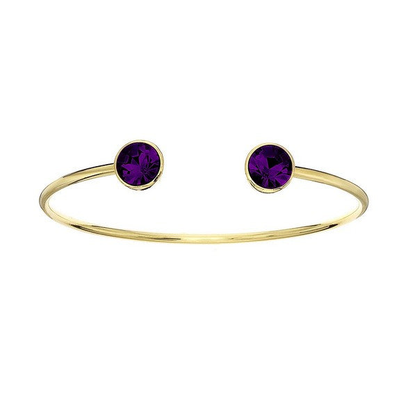 Crystal Colors 14KT Gold Plated Bangle with Dark Amethyst Swarovski Crystal (February)