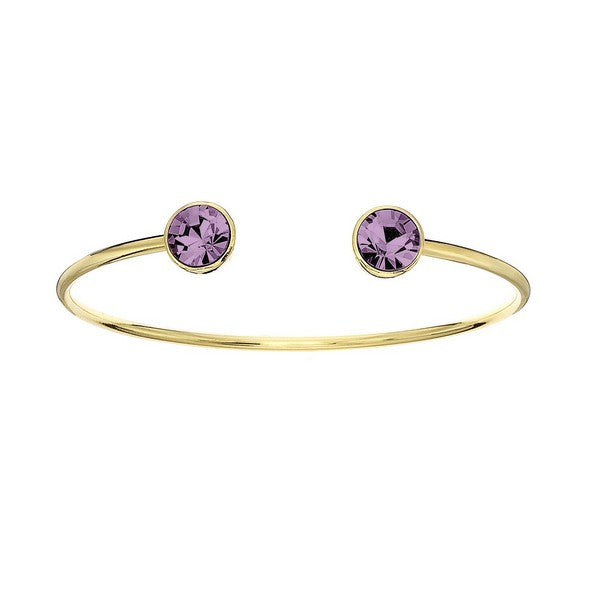 Crystal Colors 14KT Gold Plated Bangle with Light Amethyst Swarovski Crystal (June)