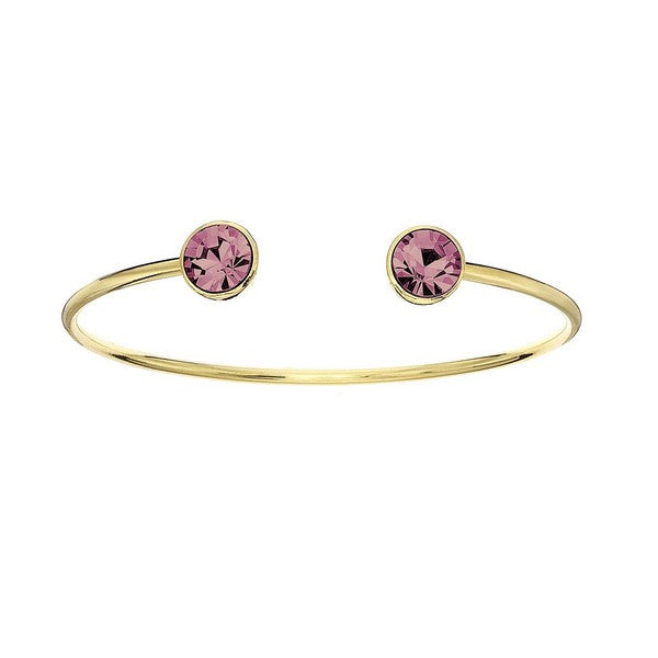 Crystal Colors 14KT Gold Plated Bangle with Light Rose Swarovski Crystal (October)