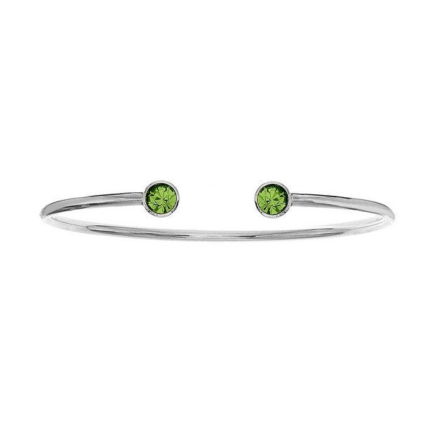 Crystal Colors Silver Plated Bangle with Peridot Swarovski Crystal (August)