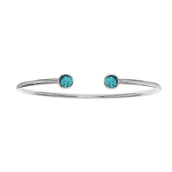 Crystal Colors Silver Plated Bangle with Blue Zircon Swarovski Crystal (December)