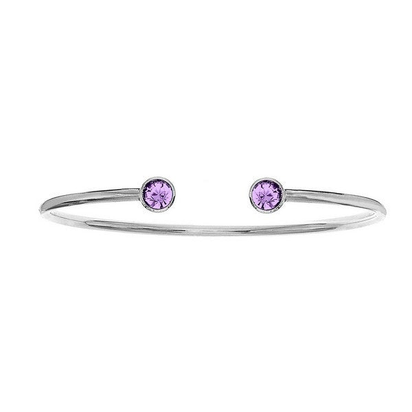 Crystal Colors Silver Plated Bangle with Light Amethyst Swarovski Crystal (June)