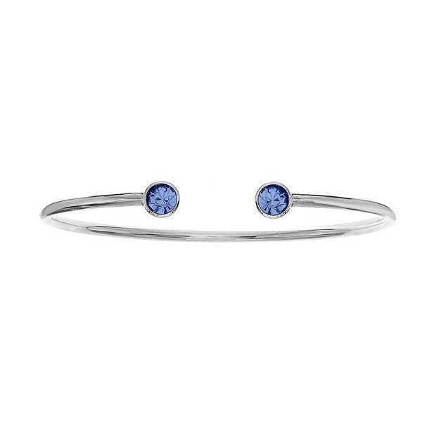 Crystal Colors Silver Plated Bangle with Aquamarine Swarovski Crystal (March)