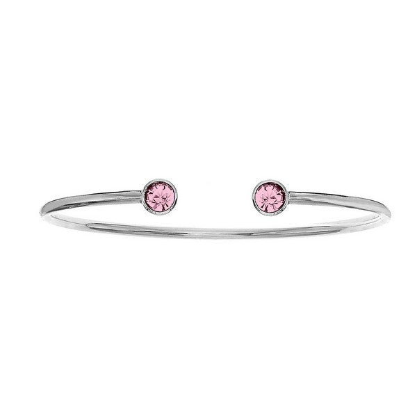 Crystal Colors Silver Plated Bangle with Light Rose Swarovski Crystal (October)