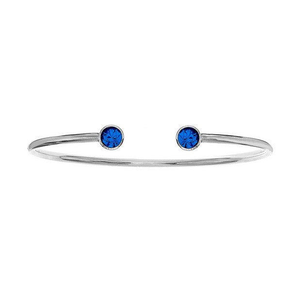 Crystal Colors Silver Plated Bangle with Sapphire Swarovski Crystal (September)