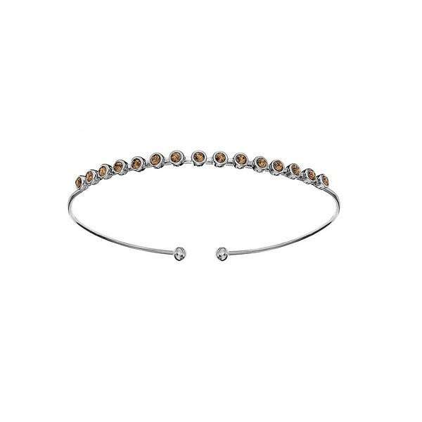 Crystal Colors Silver Plated Bangle with Light Colorado Swarovski Crystal (November)