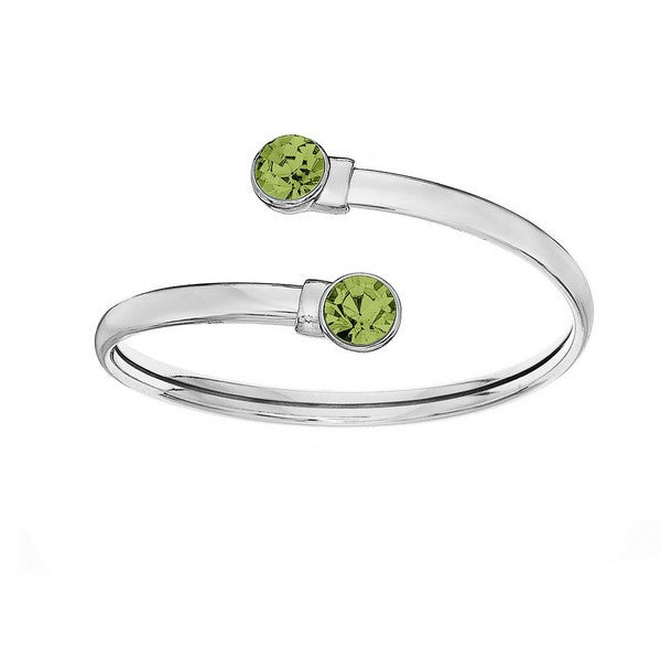 Crystal Colors Silver Plated Flex Bangle with 8mm Peridot Swarovski Crystal (August)