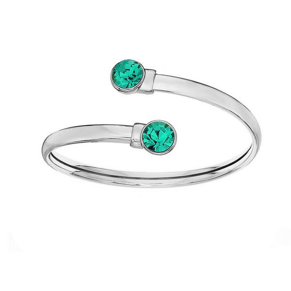Crystal Colors Silver Plated Flex Bangle with 8mm Blue Zircon Swarovski Crystal (December)
