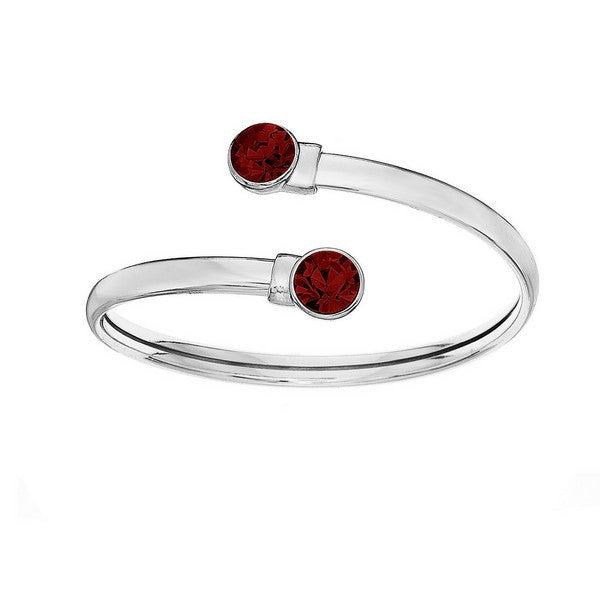 Crystal Colors Silver Plated Flex Bangle with 8mm Siam Swarovski Crystal (January)