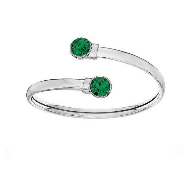 Crystal Colors Silver Plated Flex Bangle with 8mm Emerald Swarovski Crystal (May)
