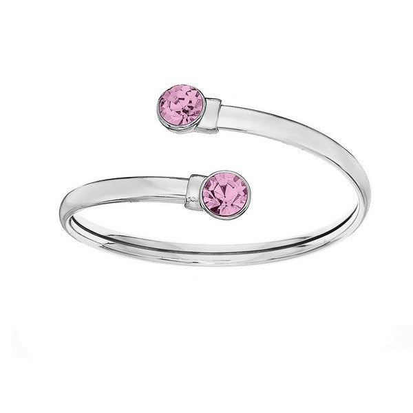 Crystal Colors Silver Plated Flex Bangle with 8mm Light Rose Swarovski Crystal (October)