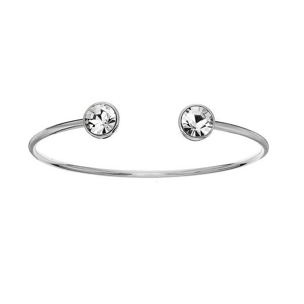 Crystal Colors Silver Plated Bangle with Clear Swarovski Crystal (April)