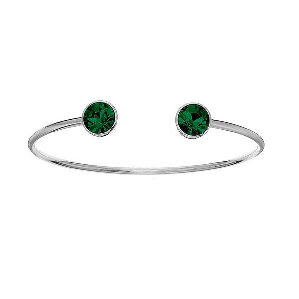 Crystal Colors Silver Plated Bangle with Emerald Swarovski Crystal (May)