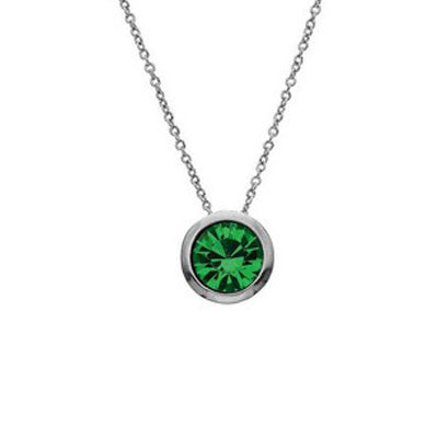 Crystal Colors Crystal Luxe Silver Plated Swarofski Emerald Crystal Birthstone Necklace