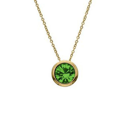 Crystal Colors Crystal Luxe Gold Plated Swarofski Peridot Crystal Birthstone Necklace