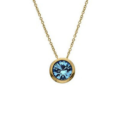 Crystal Colors Crystal Luxe Gold Plated Swarofski Aqumarine Crystal Birthstone Necklace